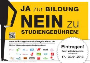 Plakat Volksbegehren Studiengebühren